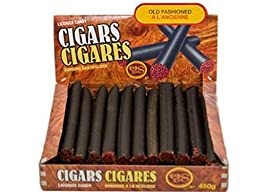 Licorice Old Fashion Black Licorice Cigars with Authentic Look Red Glow Tip in Genuine Wood Look Cigar Case Packed with 24 Licorice Cigars From the Canadian Licorice Department