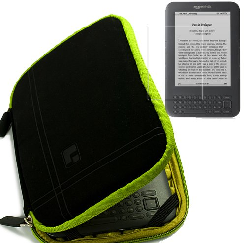 SumacLife Micro Suede Kindle Combo:Black-Green Micro Suede Durable Zipper Sleeve for Amazon Kindle 6 Inch Amazon Kindle Wi-Fi Graphite 6