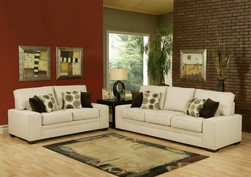 Buy Low Price Benchley 2pc Sofa Loveseat Set with Floral Patterned Accent Pillows in Pearl Color (VF_BCL-VENTI)