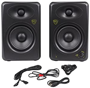 """Rockville ASM5 5"""" 2-Way 200 Watts Peak/100 Watts RMS Active/Powered Pair of Pro Studio Monitors With Dual Class """"D"""" Amp In Each Speaker, USB Input, and Neo Magnet Silk Soft Dome Tweeters"""