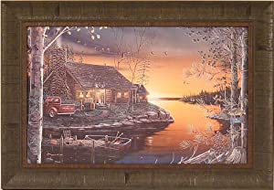 Autumn Glow by Bruce Grayson 18x26 Cabin Lake Sunset Framed Art Print Wall Décor Picture