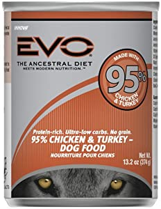 EVO 95% Chicken & Turkey Canned Dog Food - 12x13.2 oz