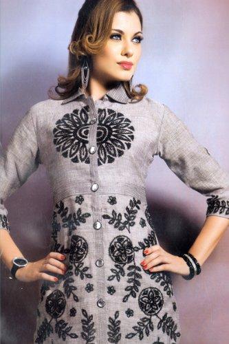 Black embroidered ladies elbow sleeve collar neck gray color tunics / kurta / tops