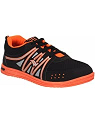 Indian Style Black & Orange Sports Shoes For Men