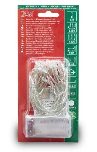 Konstsmide 1408-343 LED Lichterkette 20 pinke Dioden / Batterien: 2xAA 1.5V / transparentes Kabel
