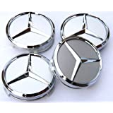 4 Mercedes Benz Chrome Alloy Wheel Centre Caps Hub Cover Badges Emblem / 4 CENTRES ROUES CACHES JANTES MOYEUX...
