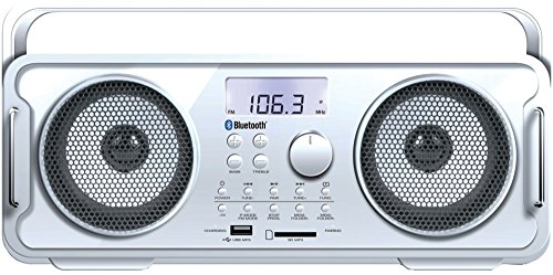 Rechargeable Bt4000 Bluetooth Boom Box White *** Product Description: Rechargeable Bt4000 Bluetooth Boom Box (White)Great Bass With No Distortion: The Rechargeable Bt4000 Bluetooth(R) Boom Box (White) Lets You Feel The Beat Again! With Wireless S ***