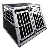 Cage de transport pour chiens - 2 portes - en aluminium et bois - 86 x 99 x 67 cm