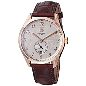 TAG Heuer Men's WAS2140.FC8176 Carrera Silver Dial Leather Strap Automatic Watch
