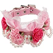 Imported Pet Dog Cat Puppy Imitation Pearls Necklace Flower Lace Collar Belt Pink S
