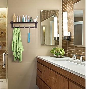 HOMFA Bamboo Coat Hook Shelf Wall-Mounted Hanging Shelf Entryway Wall Shelf with 5 Dual Wall Hanger Hooks Retro Color
