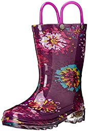 Western Chief Kids Abstract Bloom Light-Up Rain Boot (Toddler/Little Kid), Purple, 8 M US Toddler