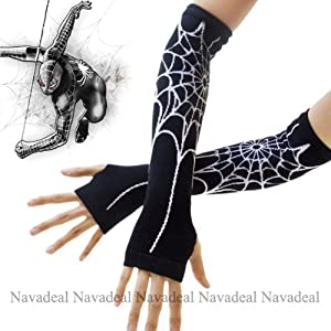 Nava Sexy Black Spiderman Spider Web Long Arm Warmer Fingerless Halloween Costume Dress Gloves by JIUFAN