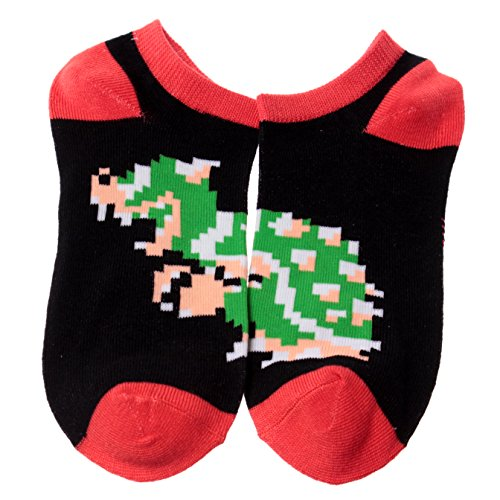 Super Mario Bros Pixelated Bowser Ankle Socks