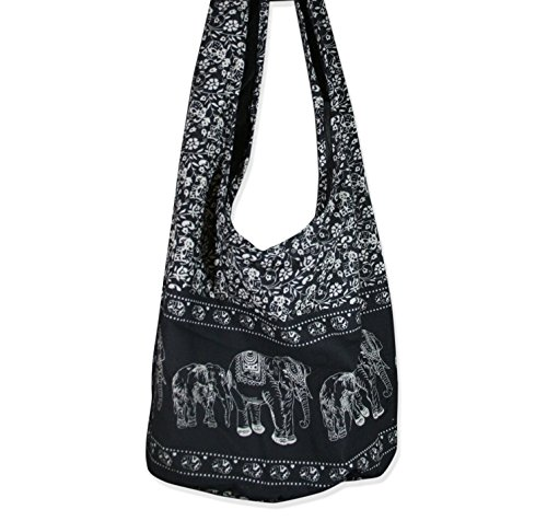 THAI Art Hippie Elephant Sling Crossbody Bag Purse Thai Top Zip Handmade Color Black.