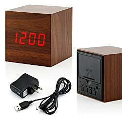 GEARONIC TM Ultra Modern Wooden LED Clock Square Cube Digital Alarm Thermometer Timer Calendar Updated 2016 Brighter LED - Brown