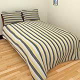 MGM KHADI 35 TC Khadi Cotton Single Bedsheet with 1 Pillow Cover - Stripe, White