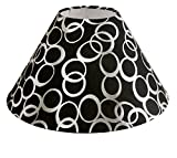 AC Lampshade Tapered Black with Silver rings (Size in cms: 25X25X14, Color: Black)