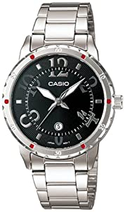 Casio Women's LTP1311D-1A Silver Stainless-Steel Quartz Watch with Black Dial