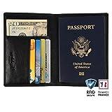 Reisebrieftasche / Reisepasshülle für Herren und Damen von Walden. Eleganter und sicherer Reiseorganizer in schwarzer Lederoptik mit vier Kreditkartenfächern und RFID-Blocker.