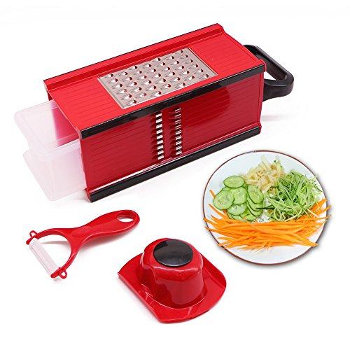 Nardo Visgo® Mandoline avec 4 lames en acier inoxydable - Vegetable multi-fonctionnelle Peeler Slicer Grater & Julienne Slicer, Saving Time Fun Création Cuisine Gadget pour Home & Commercial Cooking