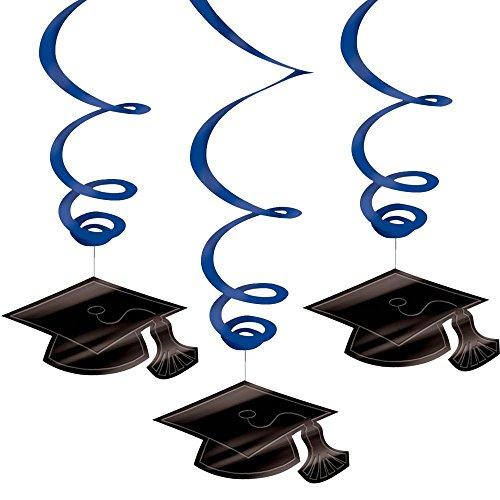Congrats Grad Blue Graduation Hanging Swirl Decorations (30)