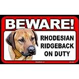 BEWARE Guard Dog on Duty Sign - Rhodesian Ridgeback