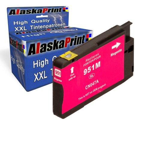 1x Druckerpatrone Ersatz für Hp 1x 951 XL Original alaskaprint Tinte Magenta, 1.500 Seiten Leistung Ersatz für Hp CN047AE ( 951 xl , HP 951 XL ) , Rot