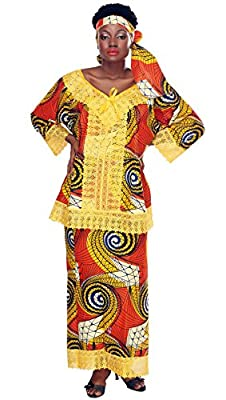African Planet Women's 3 PC Wrap Around Skirt Set Top Headwrap Nigerian Lace Hem