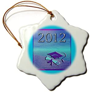 Beverly Turner Photography Graduation Cap and Diploma 2012 Snowflake Porcelain Ornament, 3-Inch