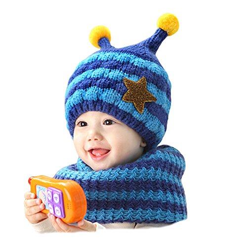 gemini-fairy-stylish-stripe-handmade-crochet-bee-style-baby-hat-and-scarf-set-blue