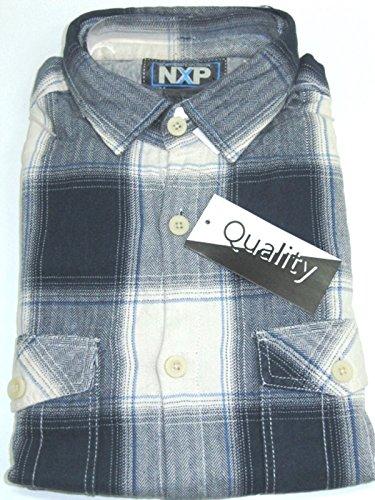 Herren-Flanell-Hemd Langarm NXP - Größe M - Reine Baumwolle - angerauht #124041