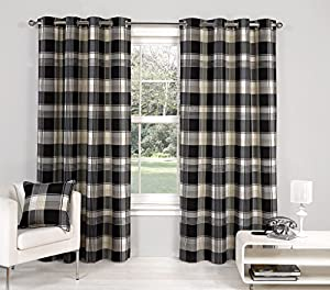 "Black Paisley Scottish Lined Ring Top Tartan Plaid Checked Curtains 46"" X 72"" from PCJ Supplies"
