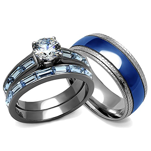 His and Hers Wedding Rings Set - Women's 3.24 Carats Wedding Engagement Rings and Men's Matching Band (Women's Size 08 & Men's Size 09) (His Her Wedding Rings compare prices)