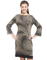 Purys Women's Shift Dress (E-150675SP5985_Brown Black_L)