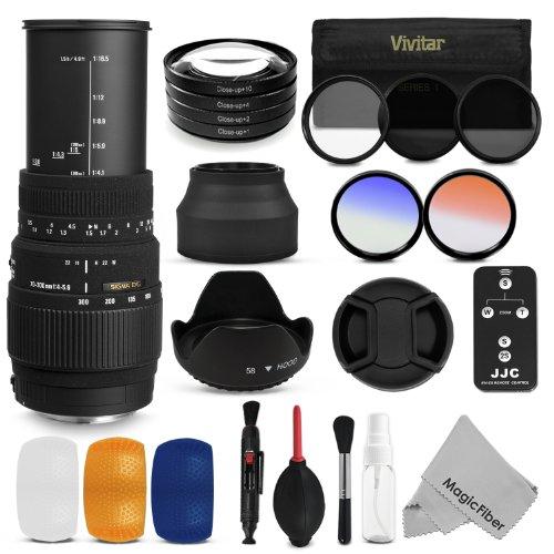 Sigma 70-300Mm F/4-5.6 Dg Macro Telephoto Zoom Lens + 58Mm Professional Accessory Kit For Canon Eos Dslr Cameras - Includes: Sigma 70-300Mm Zoom Lens + Vivitar Filter Kit (Uv, Cpl, Nd8) + Vivitar Macro Close-Up Set + Remote Control + Tulip Lens Hood + Col