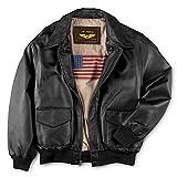 Landing Leathers Mens Air Force A-2 Leather Flight Bomber Jacket - Black Big 3XL