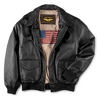 Landing Leathers Men's Air Force A-2 Leather Flight Bomber Jacket - Black XS