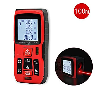 Qyuhe Laser Distance Meter Measure Measuring Tool Measurement Device handheld range finder with Mute Function and Backlit Display