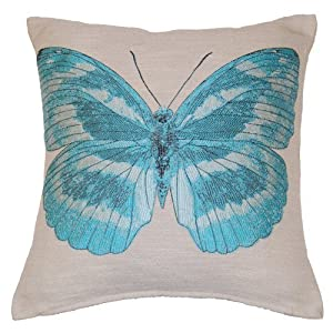 Papillon Embroidered Butterfly Decorative Scatter Cushion Cover 18 x 18 (Aqua)