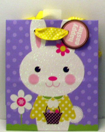 Easter gift bags fancy gift wrap hallmark easter egb8619 small purple glitter bunny gift bag negle Gallery