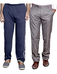 Indistar Mens Formal Trousers With Men's Premium Cotton Lower (Length Size -38) With 1 Zipper Pocket And 1 Open... - B01GEIPMOA