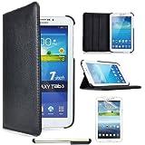 360 drehen schwarz Tasche Hülle & Stift + Folie Für Samsung Galaxy Tab 3 LTE T110 SM-T110