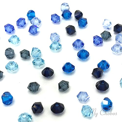 50 pcs Swarovski 5328 / 5301 6mm Crystal Xilion Bicone Beads BLUE Colors Mix **FREE Shipping from Mychobos (Crystal-Wholesale)** (Swarovski Bead Mix compare prices)