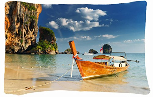Microfiber Peach Queen Size Soft And Silky Decorative Pillow Cases -Landscapes Thailand Tropics Sea Boat front-933220