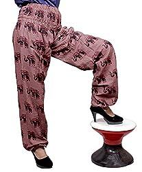 Cotton Elephant Genie Harem Pants Boho Gypsy Trousers Free Size (Brown)