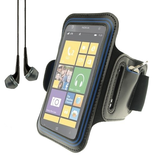 Workout Gym Armband For Nokia Lumia Series Smartphones Windows Phone (Black And Blue) + Black Vangoddy Headphones With Mic