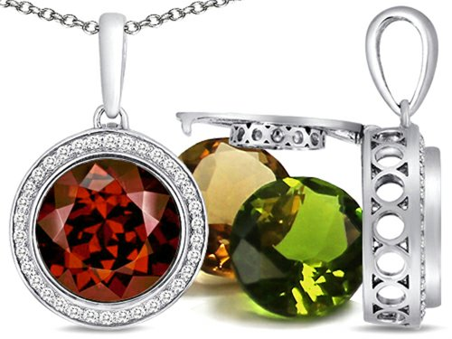 Switch-It Gems Round 10mm Simulated Garnet Pendant Necklace Total of 12 Simulated Birth Months Sterling Silver (Switch Gem Necklace compare prices)