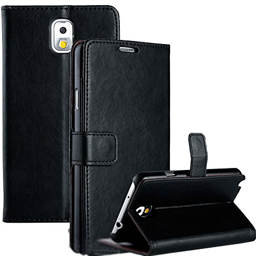 Mylife Jet Black {Smooth Texture Design} Faux Leather (Card, Cash And Id Holder + Magnetic Closing) Slim Wallet For Galaxy Note 3 Smartphone By Samsung (External Textured Synthetic Leather With Magnetic Clip + Internal Secure Snap In Closure Hard Rubberiz