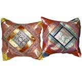 2 Red Vintage Silk Sari Toss Pillow Cushion Coversby Mogulinterior